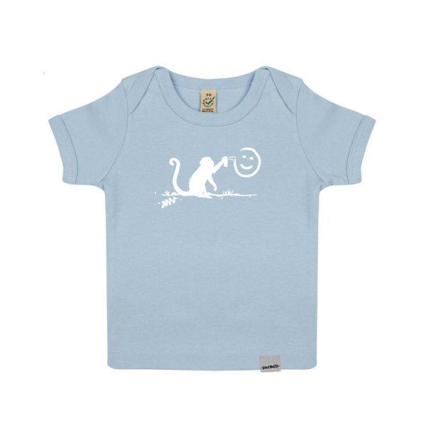 Daniel Bandholtz Baby Shirt blau Graffiti Affe: Fair, Bio und handbedruckt aus Bonn Köln