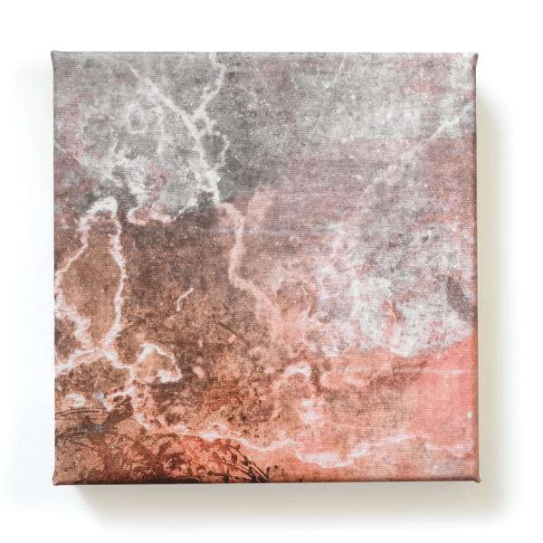 Abstrakte rot-graue Mini-Leinwand von Daniel Bandholtz aus Bonn
