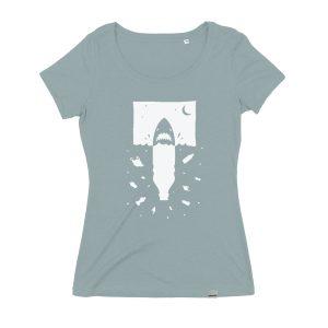 Anti-Plastik Hai Frauen T-Shirt, Fair und Bio, von Daniel Bandholtz aus Bonn