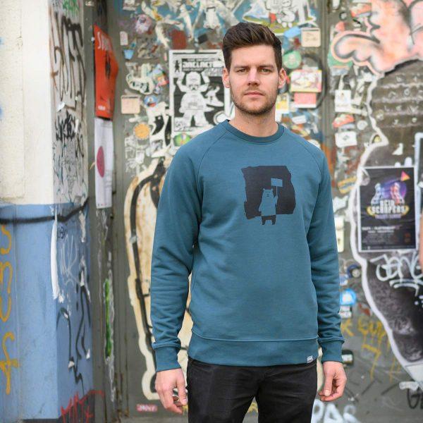 Daniel Bandholtz Pullover Protest Bär: Fair, Bio und handbedruckt