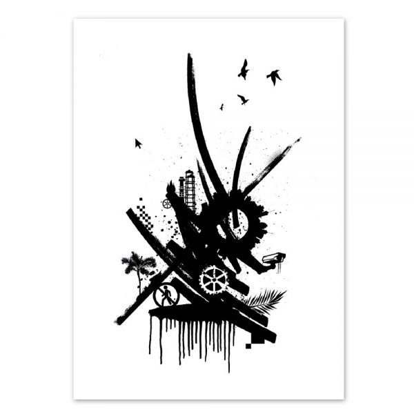 Abstrakte Street-Art Graffiti Daniel Bandholtz Postkarte 10: Design-Accessoires von Daniel Bandholtz, Bonn