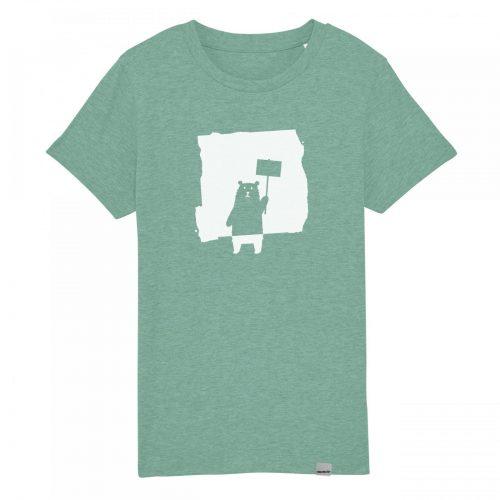 Protest Bär Kinder T-Shirt: Bio und Fair Trade. Handbedruckt in Bonn von Daniel Bandholtz.