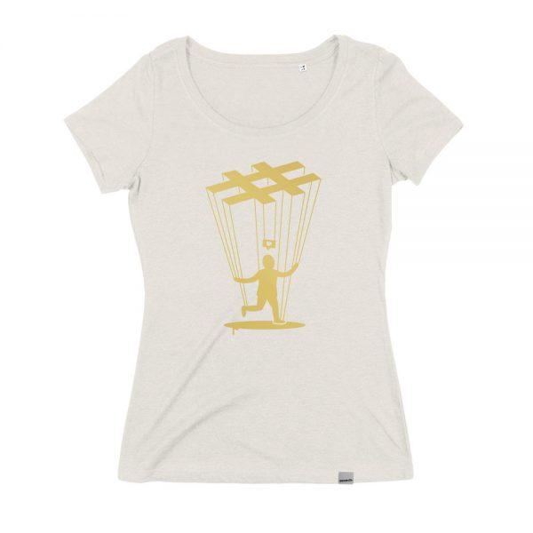 Helles Instragram Marionette T-Shirt für Frauen. Aus Bio Baumwolle und Fair Trade. Von Daniel Bandholtz, Bonn.