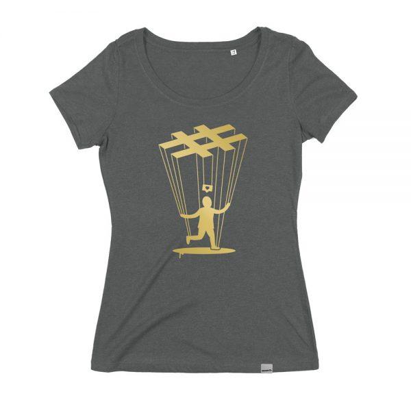 Instragram Marionette T-Shirt für Frauen. Bio und Fair Trade. Von Daniel Bandholtz, Bonn.