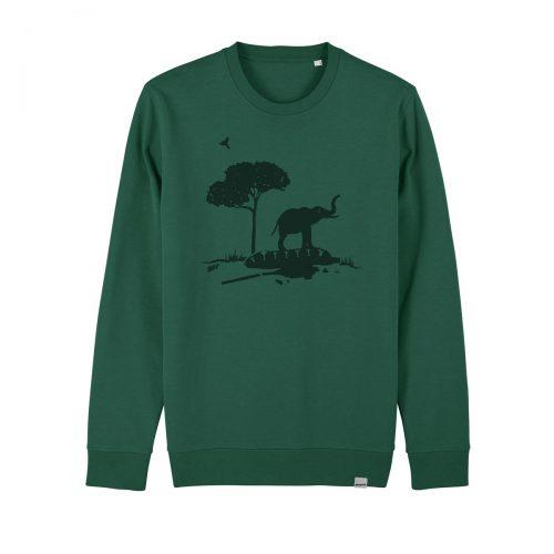 Grüner Elefant Pullover aus Bio Baumwolle. Fair gehandelt und handbedruckt von Daniel Bandholtz, Bonn