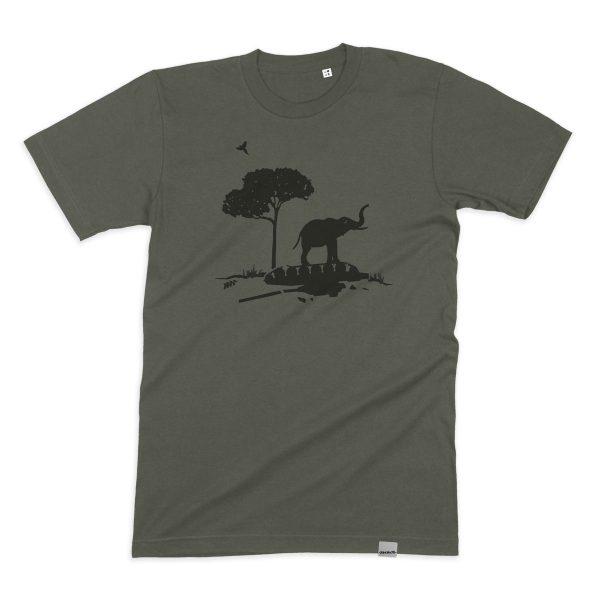 Bio T-Shirt mit Elefanten-Motiv. Fair gehandelt, handbedruckt in Bonn.